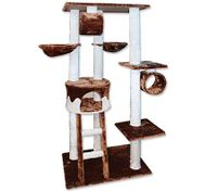Cat Tree Gym Scratching Post 166cm - Brown & White 6 Levels