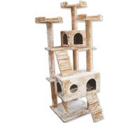Cat Tree 7 Level 178cm Scratching Post Plush Material - Beige