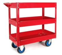 Mechanic Handyman Tool Cart Trolley with 3 Level Tray on Wheels with Handle - Red