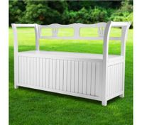 White Wooden Outdoor Garden Storage Bench