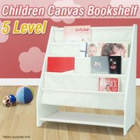 5 Level Tier Childrens Canvas Book Shelf Display Unit - White