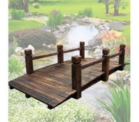 Wooden Garden Bridge with Side Rails