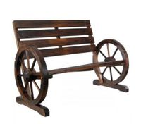 Wooden Bench Garden Seat with Wheel Design Armrests