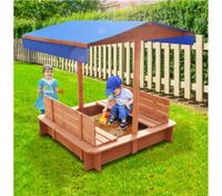 Outdoor Wooden Sandpit with Canopy