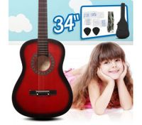 "34"" Kids Steel String Acoustic Guitar Pack (red)"