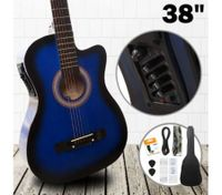 "38"" Steel String Cutaway Acoustic Electric Guitar Pack (Blue)"