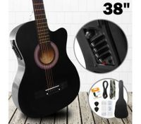 "38"" Steel String Cutaway Acoustic Electric Guitar Pack (Black)"