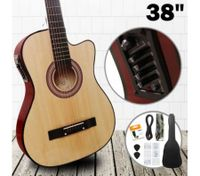 "38"" Steel String Cutaway Acoustic Electric Guitar Pack (Natural)"