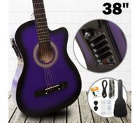 "38"" Steel String Cutaway Acoustic Electric Guitar Pack (Purple)"