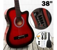 "38"" Steel String Cutaway Acoustic Electric Guitar Pack (Red)"