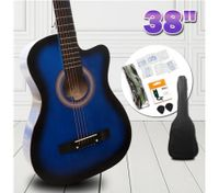 "38"" Beginners Steel String Cutaway Acoustic Guitar Pack (blue)"