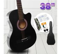 "38"" Beginners Steel String Cutaway Acoustic Guitar Pack (black)"