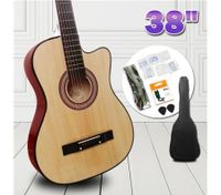 "38"" Beginners Steel String Cutaway Acoustic Guitar Pack (Natural)"