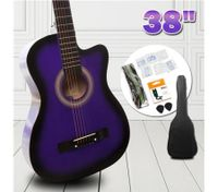 "38"" Beginners Steel String Cutaway Acoustic Guitar Pack (Purple)"