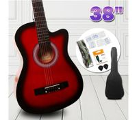 "38"" Beginners Steel String Cutaway Acoustic Guitar Pack (red)"