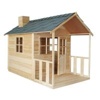 Outdoor Playhouse Wooden Cubby House with Windows and Verandah - JS022