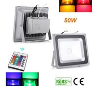 50W Dimmable RGB LED Spotlight IP65 Outdoor Flood Light Lamp + 24key Remote