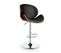 Walnut Veneer Bar  Chair-Black