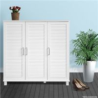 White Wooden Shoe Storage Cabinet-Holds up to 24 Pairs