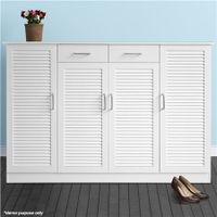Extra Large White Wooden Shoe Cabinet-Max.40 Pairs White