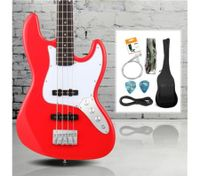 Full Size Electric Bass Guitar Pack (Red)