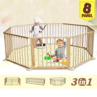 Kids Baby Toddler Deluxe Wooden Large 8 Panel Playpen Divider with Connection Bar