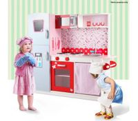 13pc Pink Toy Kitchen with Refrigerator & Oven