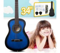 "34"" Kids Steel String Acoustic Guitar Pack (blue)"