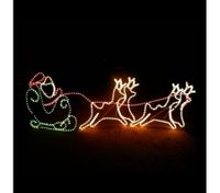 Santa Sleigh with 4 Reindeer Christmas Light Display