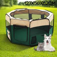Small Sized Portable Pet Tent Playpen Dog/Cat Kennel 8 Panels - Green
