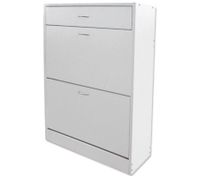 Wooden Shoe Storage Cabinet - 2 Racks & 1 Drawer, White