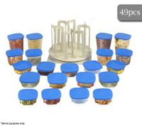 49 Piece Clear Food Container Spin & Store Storage Solution Set