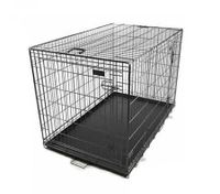 "Collapsible Pet Cage Dog Crate 42"" Extra Large XL Size with Handles, 2 Gates and ABS Tray - Black"