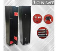 4 Gun Lockbox Steel Firearm Storage Safe Cabinet