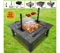 5-in-1 Multi-Function BBQ Pit Table with Removable Chicken Roaster