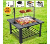 Multi-Function BBQ Fire Pit with Removable Chicken Roaster