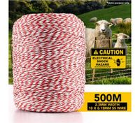 500m Polywire Roll Electric Fence Energiser Stainless Steel Poly Wire