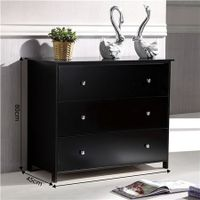 Tallboy Chest of 3 Drawers Storage Table Cabinet Bedroom Organizer Black
