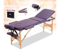 Foldable 3-Section Massage Table with Carry Bag-Violet