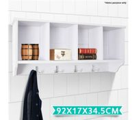 White 4-Compartment Coat Rack Cabinet
