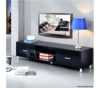 Black High Gloss 2 Drawer TV Stand
