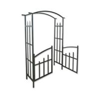 Garden Arch with Doors - Steel Gate Arch Outdoor Decor - 190cm in Height