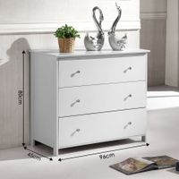 Tallboy Chest of 3 Drawers Storage Table Cabinet Bedroom Organizer White