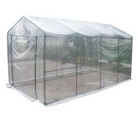 Extra Large Walk-In Garden Greenhouse Shed with PVC Cover and Storage Shelving - Transparent