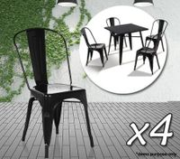Set of 4 Metal-Style Dining Chair - Gloss Black