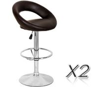 2 x PU Leather Scoop Style Bar Stool Kitchen Furniture Chairs - Deep Brown - FX-093_BRx2