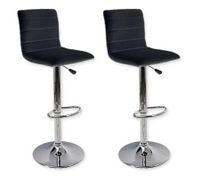 2 x Leather Bar Stool Kitchen Furniture Chairs - Black - FX-1010B_BKx2