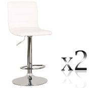 2 x PU Leather Bar Stool Kitchen Furniture Chairs - White - FX-1010B_WHx2