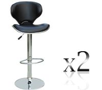 2 x PU Leather Bar Stool with Back Rest Kitchen Furniture Chairs - Black - FX-1029_BKx2