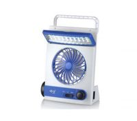 Solar Three-in-One rechargeble electric solar fan led light flashlight Blue